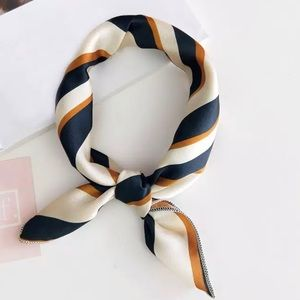 The Beth - Navy blue, cream, & gold neck scarf!!
